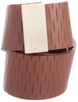 Diane von Furstenberg Leather Gold-Tone Waist Belt w/ Tags