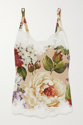 Dolce & Gabbana Lace-trimmed Floral-print Silk-blend Camisole - Beige