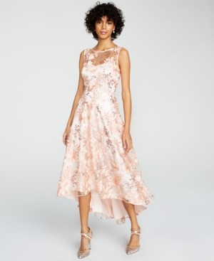 Eliza J Embroidered High-Low Illusion Gown