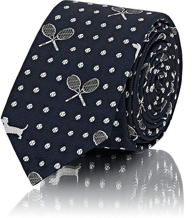 Thom Browne Men's Tennis- & Dog-Pattern Silk Repp Necktie