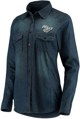 Antigua Women's Denim Minnesota Wild Outlook Long Sleeve Button-Up Shirt