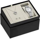 Bulova Women's Stainless Steel Bracelet Watch & Pendant Necklace and Stud Earrings Box Set 30mm 96X138