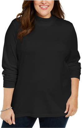 Karen Scott Plus Size Cotton Mock Neck Sweater
