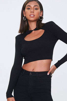 Forever 21 Shoulder-Pad Cutout Crop Top
