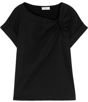 A.L.C. Abbey Ruched Linen-blend T-shirt