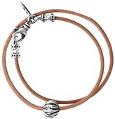 King Baby Studio Men's 925 Sterling Silver Brown Double Wrap Leather Cord Feather Beads Bracelet of Length 22.23 cm