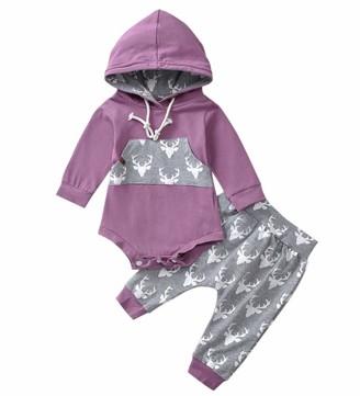 Xuefoo Newborn Baby Boy Deer Head Print Clothes Set Infant Top + Pants Toddler Hoodies Outfit Set