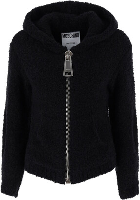 Moschino BOUCLE' CARDIGAN WITH MAXI ZIP 38 Black