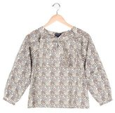 Oscar de la Renta Girls' Bow-Accented Floral Print Top w/ Tags