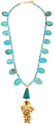 """Devon Leigh Turquoise Ball Cluster Pendant Necklace, 32"""""""