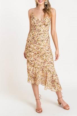 Lush Asymmetrical Hem Printed Midi Dress