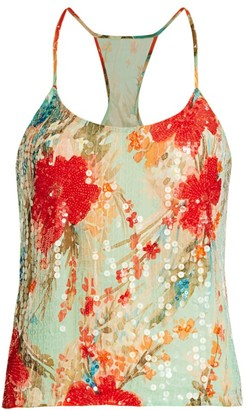Badgley Mischka Sequin Floral Top