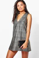 Boohoo Eva Metallic Plunge Neck Shift Dress