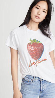 Monogram Strawberry Tee with Rhinestones