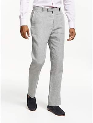 John Lewis & Partners Linen Slim Fit Suit Trousers, Silver