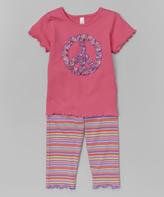 Mulberribush Light Fuchsia Ruffle Peace Tee & Stripe Leggings - Girls