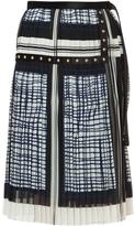 Sacai printed pleated midi skirt
