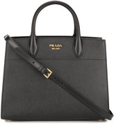 Prada Large Bibliotheque Tote With Contrast Side Panel