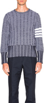 Thom Browne Frayed Edge Waffle Pullover
