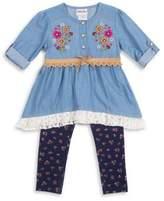 Little Lass Baby's Applique Top and Knit Leggings Set