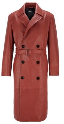 HUGO BOSS Double-breasted overcoat in grained calf leather