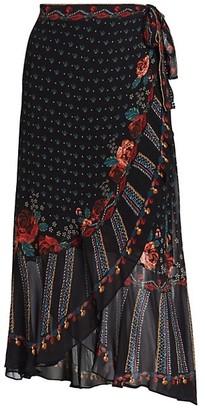 Farm Rio Embroidered Floral Wrap Skirt