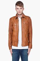 Diesel Brown Lisardo Leather Jacket