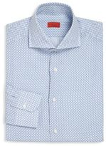 Isaia Blue & White Printed Button-Up