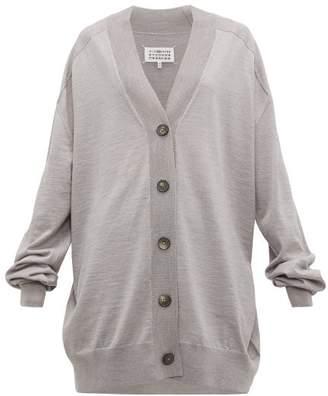 Maison Margiela Longline Wool Jersey Cardigan - Womens - Grey