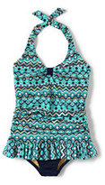 Classic Girls Plus Size Skirted One Piece Swimsuit-Jewel Green Mosaic