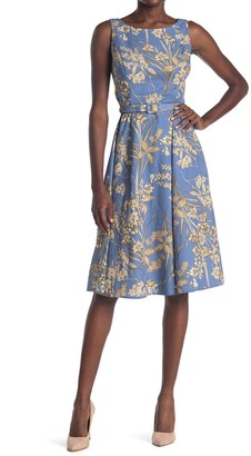 London Times Boatneck Floral Belted Dress