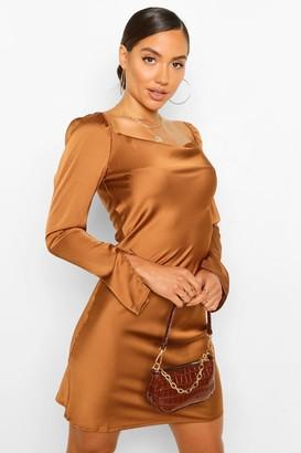 boohoo Satin Cowl Split Sleeve Shift Dress