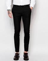 Asos Super Skinny Suit Trousers In Black