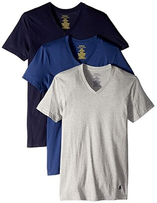 Polo Ralph Lauren Classic Fit w/ Wicking 3-Pack V-Necks (Andover Heather/Bali Blue/Cruise navy) Men's Underwear
