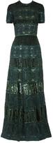 Elie Saab Belted Embellished Tulle Gown - Emerald