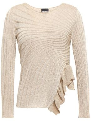 Just Cavalli Ruffle-trimmed Metallic Ribbed-knit Top