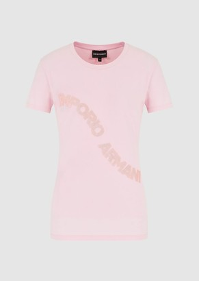 Emporio Armani Jersey T-Shirt With Logo Embroidery And Sequins