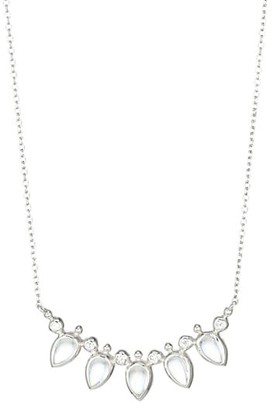 Anzie Bouquet Blue Moonstone, White Sapphire & Rhodium-Plated Fan Bar Necklace