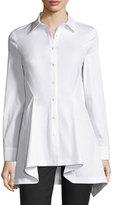 Lela Rose Flared-Hem Long-Sleeve Blouse, White