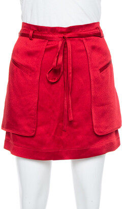 Valentino Berry Red Satin Waist Tie Detail Cargo Mini Skirt S