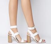 Office Hanny Triple Strap Block Heels Off White Leather