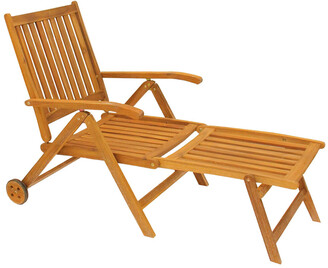 Northlight 55In Acacia Wood Outdoor Patio Chaise Lounge Chair