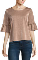 Almost Famous Elbow Sleeve Crew Neck Jersey Blouse-Juniors