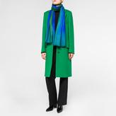 Paul Smith Women's Sky Blue Dip-Dye Herringbone Cashmere Scarf