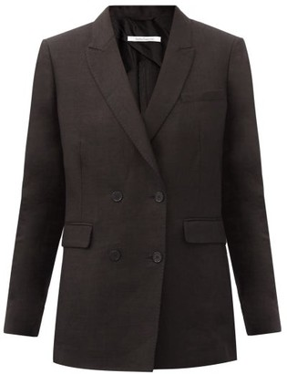 Another Tomorrow - Double-breasted Organic Linen-blend Twill Jacket - Black