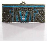 Moyna Brown Blue Canvas Beaded Clasp Closure Clutch Handbag