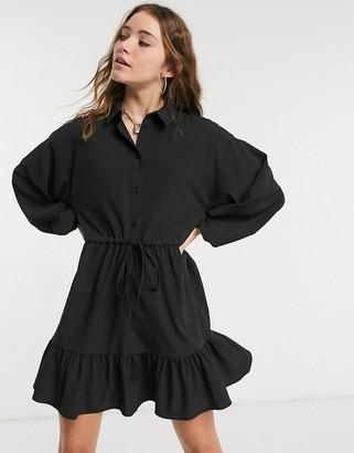 ASOS DESIGN button through mini skater shirt dress with pephem in self stripe in black