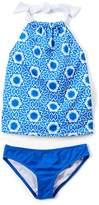 Blue & White Geometric Tankini - Toddler & Girls