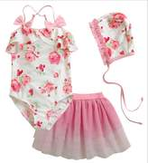 Remeehi Kid Girls Two-piece Swimsuits and Tutu Skirt 3pcs/swimwear 15T