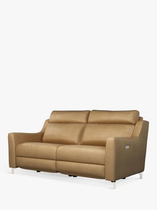John Lewis & Partners Elevate Large 2 Seater Power Recliner Leather Sofa, Metal Leg